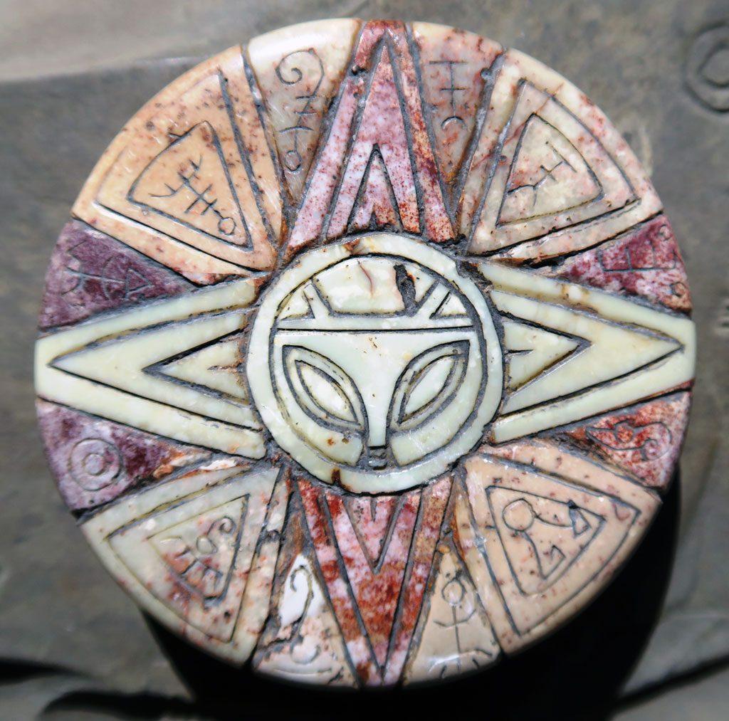 Multi colored stone disk